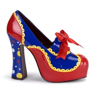 Funtasma Women's 'Circus-25' Red/ Blue Chunky Heel Clown Pumps