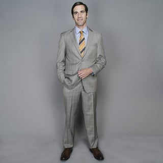 Light Grey Windowpane 2-button Wool and Silk Blend Suit
