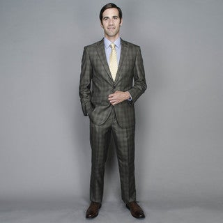 Men'sTaupe Windowpane 2-button Suit