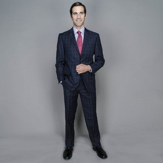 Navy Windowpane 2-button Suit