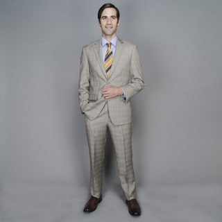 Giorgio Fiorelli Tan Plaid 2-button Suit