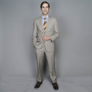 Tan Plaid 2-button Suit