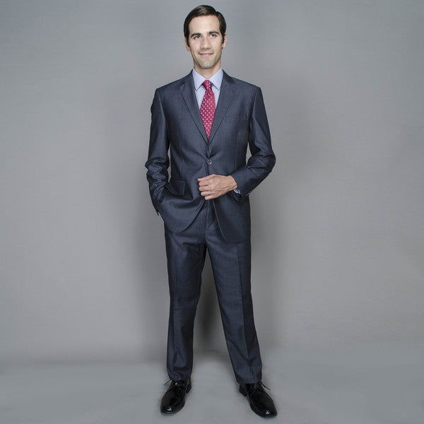Dark Grey Sharkskin 2-button Suit