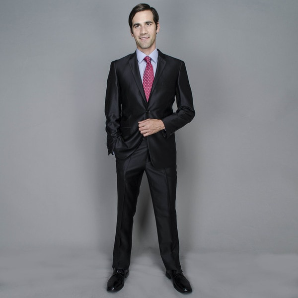 Slim Shine Black 2-button Suit