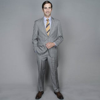 Grey Rust Windowpane 2-button Wool and Silk Blend Suit