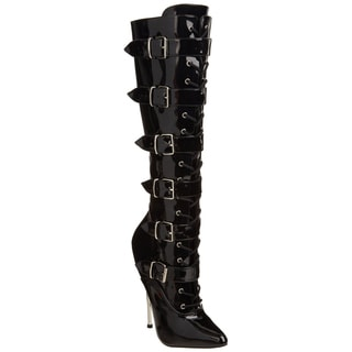 Devious 'Dagger-2042' Women's 6 1/4-inch Solid Brass Heel Lace-Up Knee Boots