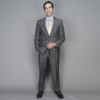 Bertolini Taupe Windowpane 2-button Wool and Silk Blend Suit
