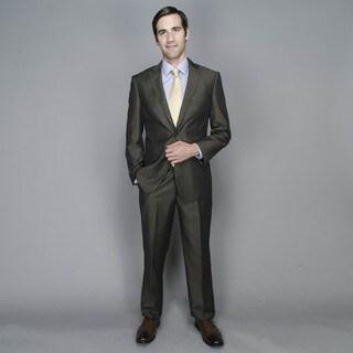 Brown Sharkskin 2-button Wool and Silk Blend Suit