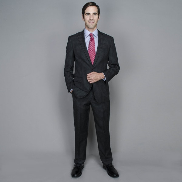 Navy Stripe 2-button Wool and Silk Blend Suit
