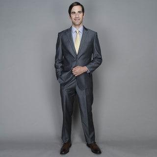 Grey Sharkskin 2-button Wool and Silk Suit