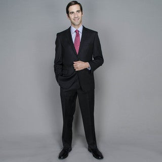 Black Tone-on-Tone 2-button Wool and Silk Blend Suit