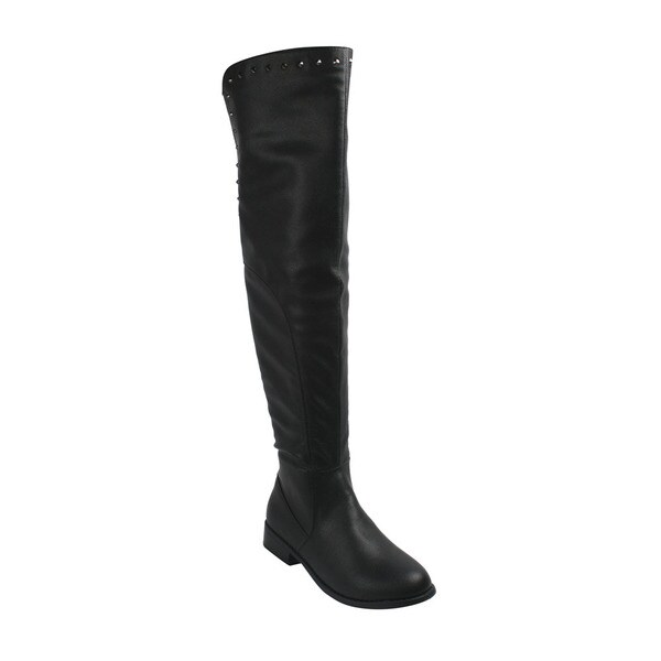 Women's 'Mitzi-1' Black Studded Over-the-knee Riding Boots