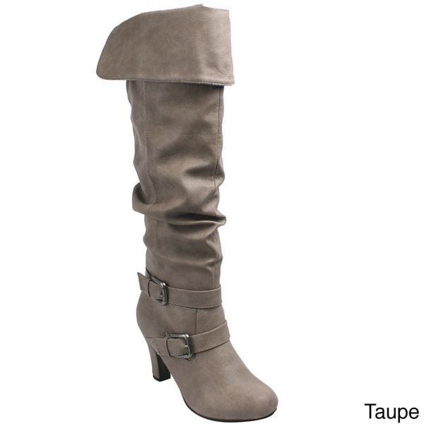Bonnibel 'Alko-1' Women's Cuffed Kitty Heel Slouch Knee High Boots