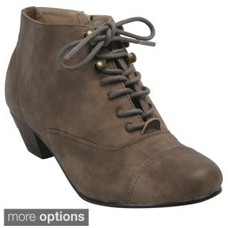 Bonnibel 'Trynn-1' Women's Round Toe Lace Up Side Zip Ankle Booties