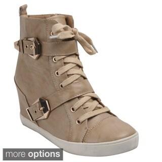 Bonnibel 'Riley-1' Women's Zip Lace Up Wedge Sneaker Boot