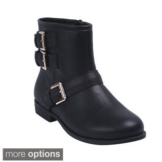 Bonnibel 'Ardie-4' Women's Round Toe Buckle Side Zip Ankle Booties