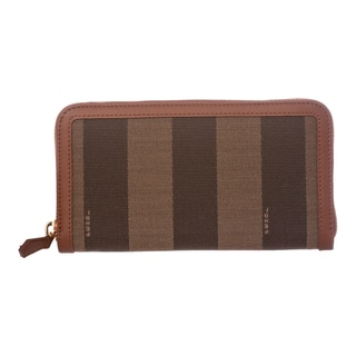 Fendi Tobacco/ Brown Pequin Zip-around Wallet