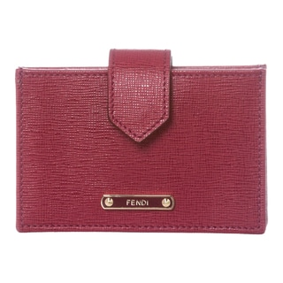 Fendi Raspberry Leather Accordion Card Case