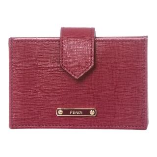 Fendi Raspberry Leather Accordion Card Case