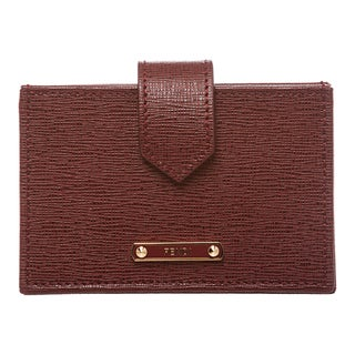 Fendi Deep Red Leather Accordion Card Case