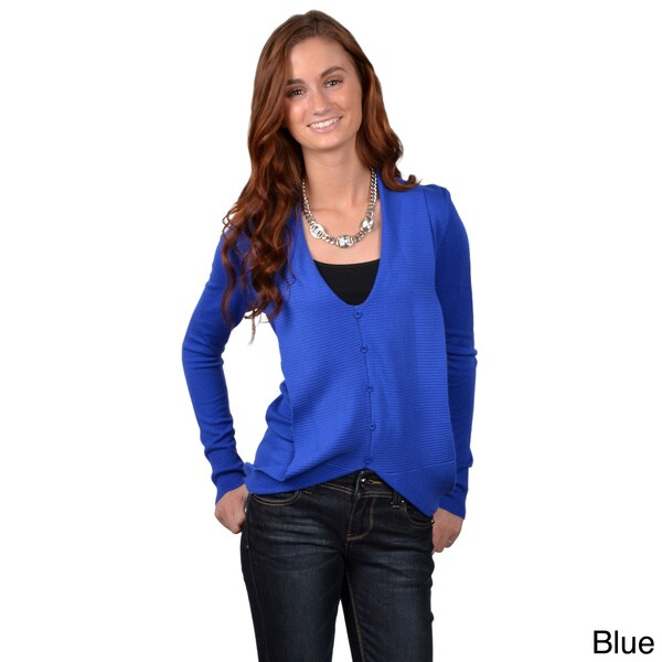 Journee Collection Junior's Long Sleeve V-neck Sweater