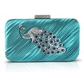 Jacki Design Peacock Brooch Hardcase Evening Clutch