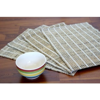 Set of 4 Handwoven Natural White Placemats (India)