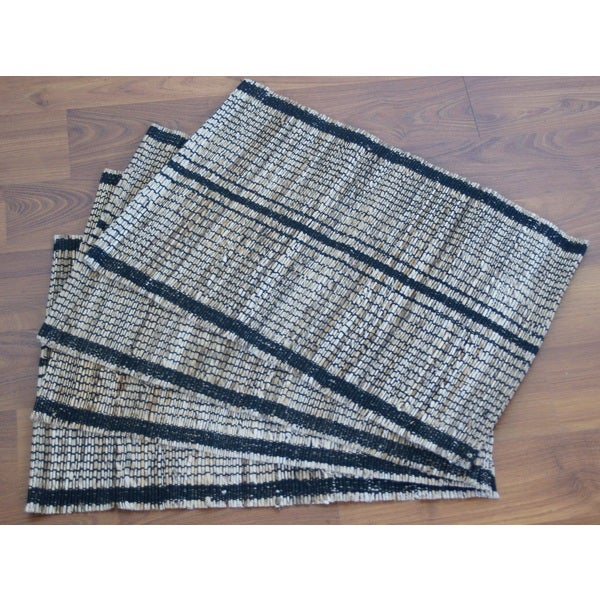 Set of 4 Handwoven Stripe Natural Placemats (India)