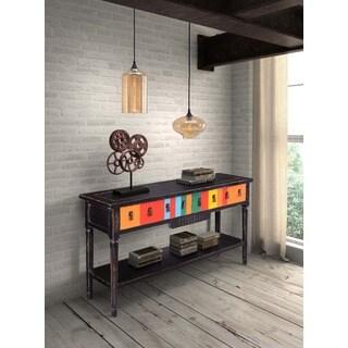 Vidal Distressed Black/ Multicolor Console Table