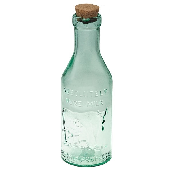 Set of 4 Recycled Glass Pure Milk Bottles with Corks
