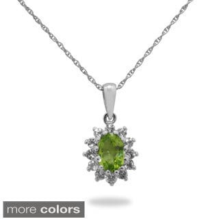 Gioelli Jenne Sterling Silver Gemstone And White Topaz Accent Pendant