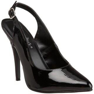 Pleaser Women's 'Seduce-317' Black Slingback Pointed Toe Pumps