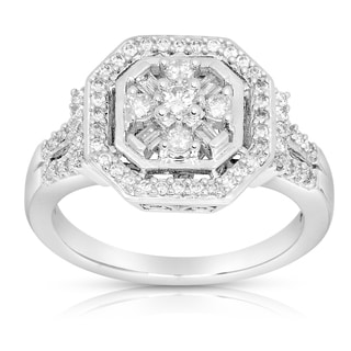 Eloquence 14k White Gold 1/2ct TDW Round and Baguette Multi Stone Diamond Ring (G-H, I1-I2)