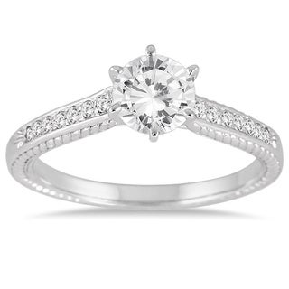 14k White Gold 1ct TDW Round Diamond Solitaire Side Stone Ring (I-J, I1-I2)
