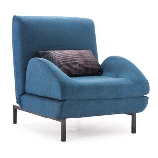 Conic Cowboy Blue Body/ Shadow Grid Cushion Arm Chair Sleeper