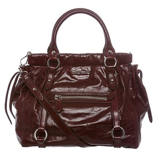 Miu Miu 'Lux' Deep Red Vitello Leather Tote