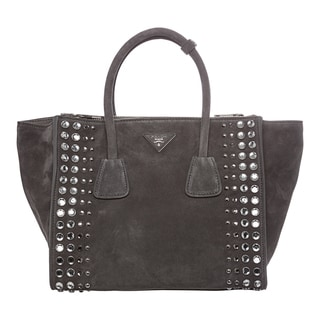 Prada Grey Studded Suede Twin Pocket Tote