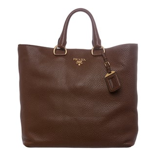 Prada 'Daino' Brown Pebbled Leather Tote