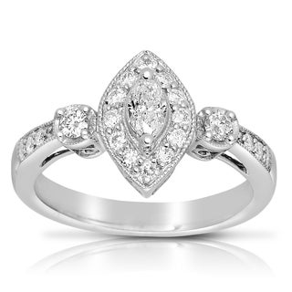 14k White Gold 1/2 TDW Marquise Shape Diamond Ring