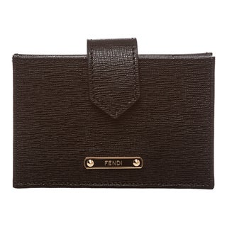 Fendi Black Saffiano Leather Accordion Card Case