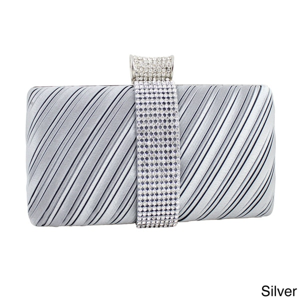 Jacki Design Satin Dazzling Rhinestone Rectangle Clutch Purse image