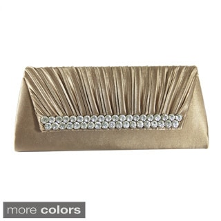 Pleated Satin Rhinestone Evening Clutch