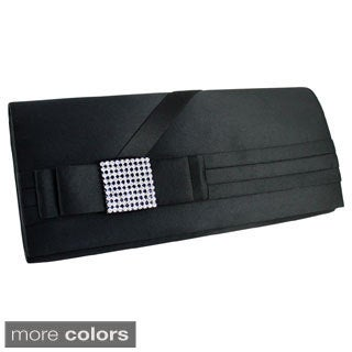 Jacki Design Classic Satin Evening Clutch with Rhinestones