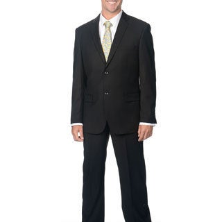 Caravelli Men's Slim Fit Black 2-button Notch Collar Suit