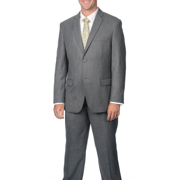 Caravelli Men's Slim Fit Grey Shark Pattern 2-button Notch Collar Suit