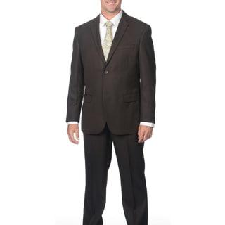 Caravelli Men's Slim Fit Brown Shark Pattern 2-button Suit