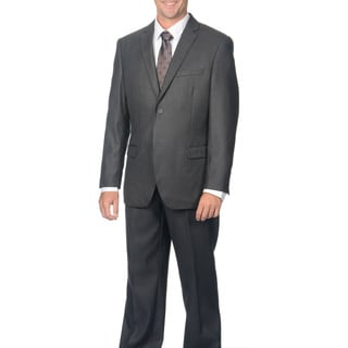 Caravelli Men's Slim Fit Charcoal Shark Pattern 2-button Suit