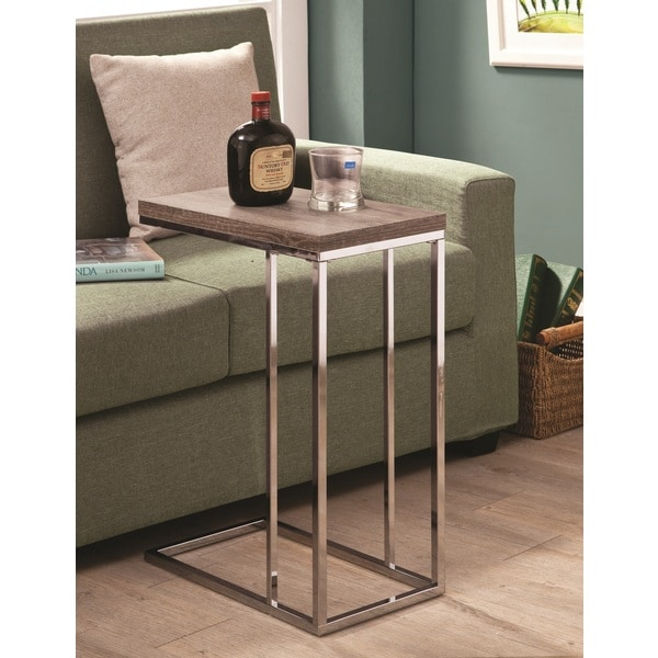 Chrome End Table With Reclaimed Wood Finish