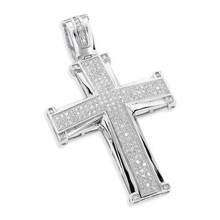 Luxurman 10k White Gold 1ct TDW Diamond Cross Pendant (H-I, SI3)