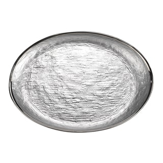 Glamour Silver Leaf Glass Oval Platter
